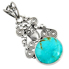 Clearance Sale- 11.69cts natural green kingman turquoise 925 sterling silver owl pendant d36920