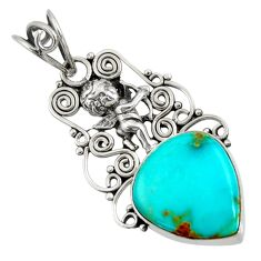 12.52cts natural kingman turquoise 925 silver angel wings fairy pendant d36923
