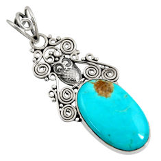 Clearance Sale- 925 sterling silver 14.47cts natural green kingman turquoise owl pendant d36927