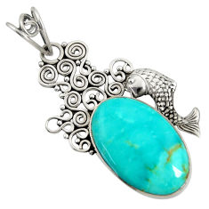 925 sterling silver 17.93cts natural green kingman turquoise fish pendant d36930