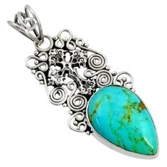 Clearance Sale- 13.55cts natural green kingman turquoise 925 silver holy cross pendant d36932