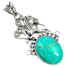 16.49cts natural green kingman turquoise 925 silver unicorn pendant d36936