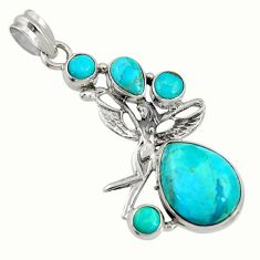 14.21cts natural kingman turquoise 925 silver angel wings fairy pendant d36941