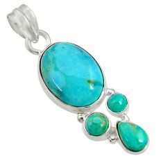 13.70cts natural blue kingman turquoise 925 sterling silver pendant d36943