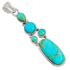15.39cts natural blue kingman turquoise 925 sterling silver pendant d36945