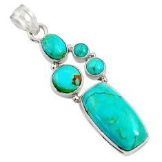 16.43cts natural blue kingman turquoise 925 sterling silver pendant d36946