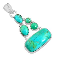 925 sterling silver 16.24cts natural blue kingman turquoise pendant d36949
