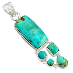 925 sterling silver 15.93cts natural blue kingman turquoise pendant d36954