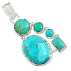 14.72cts natural blue kingman turquoise 925 sterling silver pendant d36955