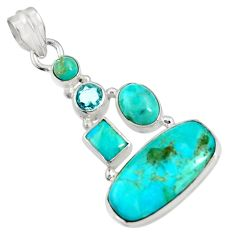 14.72cts natural blue kingman turquoise topaz 925 sterling silver pendant d36959