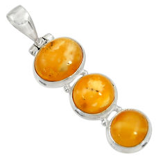 Clearance Sale- 14.14cts natural yellow amber bone 925 sterling silver pendant jewelry d37002
