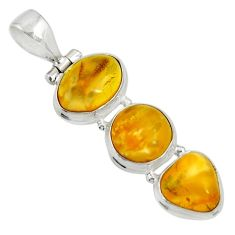 Clearance Sale- 13.66cts natural yellow amber bone 925 sterling silver pendant jewelry d37003