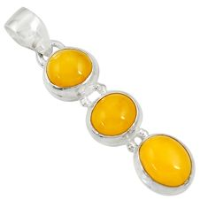 10.22cts natural yellow amber bone 925 sterling silver pendant jewelry d37006
