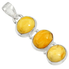 925 sterling silver 11.74cts natural yellow amber bone pendant jewelry d37007