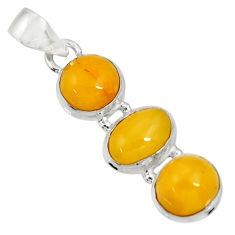 yellow amber bone 925 sterling silver pendant jewelry d37008