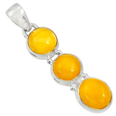 Clearance Sale- 11.23cts natural yellow amber bone 925 sterling silver pendant jewelry d37009