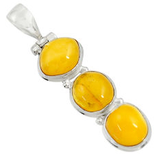 925 sterling silver 13.03cts natural yellow amber bone oval pendant d37010
