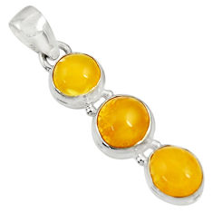 Clearance Sale- 925 sterling silver 10.22cts natural yellow amber bone pendant jewelry d37012