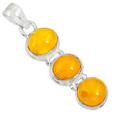 Clearance Sale- 10.73cts natural yellow amber bone 925 sterling silver pendant jewelry d37013