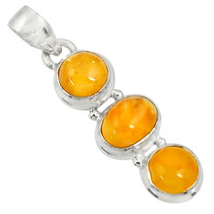 Clearance Sale- 9.67cts natural yellow amber bone 925 sterling silver pendant jewelry d37014