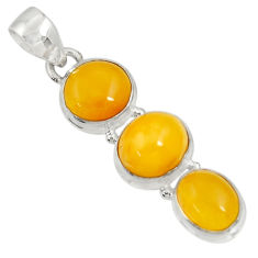 Clearance Sale- 11.74cts natural yellow amber bone 925 sterling silver pendant jewelry d37016