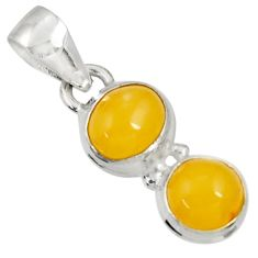Clearance Sale- 925 sterling silver 7.17cts natural yellow amber bone pendant jewelry d37019