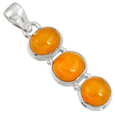 11.26cts natural yellow amber bone 925 sterling silver pendant jewelry d37020