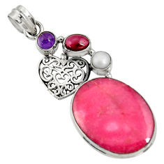 Clearance Sale- 24.00cts natural pink rhodonite in black manganese 925 silver pendant d37022