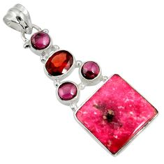 925 silver 15.02cts natural pink thulite (unionite, pink zoisite) pendant d37025