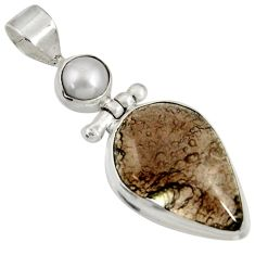 Clearance Sale- 17.57cts natural green moss agate pearl 925 sterling silver pendant d37027