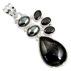 925 silver 19.27cts natural black psilomelane (crown of silver) pendant d37028