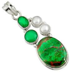 Clearance Sale- 17.69cts sonora sunrise (cuprite chrysocolla) pearl 925 silver pendant d37034