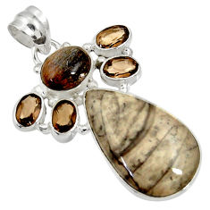 Clearance Sale- 17.57cts natural brown mushroom rhyolite moonstone 925 silver pendant d37036