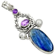 Clearance Sale- 925 sterling silver 22.57cts natural blue kyanite amethyst pearl pendant d37037