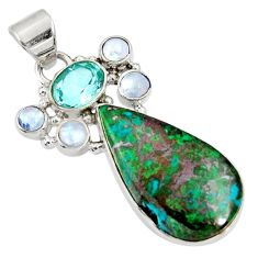 Clearance Sale- 925 sterling silver 17.18cts natural green chrysocolla blue topaz pendant d37038