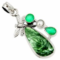 Clearance Sale- 19.27cts natural green seraphinite pearl 925 silver dragonfly pendant d37047