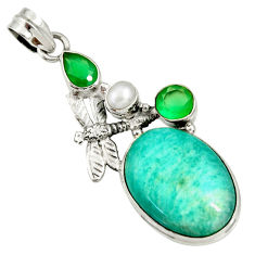 Clearance Sale- 21.18cts natural green amazonite (hope stone) silver dragonfly pendant d37051