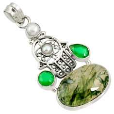 Clearance Sale- 19.72cts natural green moss agate 925 silver hand of god hamsa pendant d37053