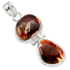 925 silver 18.15cts natural multi color mexican fire agate fancy pendant d37058