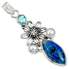 Clearance Sale- 14.41cts natural blue shattuckite topaz pearl 925 silver flower pendant d37061