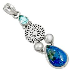 Clearance Sale- 12.04cts natural blue shattuckite topaz pearl 925 sterling silver pendant d37062
