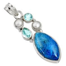 Clearance Sale- 925 sterling silver 16.87cts natural blue shattuckite topaz pearl pendant d37063