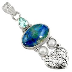 Clearance Sale- 12.04cts natural blue shattuckite topaz pearl 925 sterling silver pendant d37065