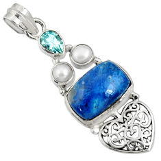 Clearance Sale- 10.54cts natural blue shattuckite topaz pearl 925 sterling silver pendant d37067