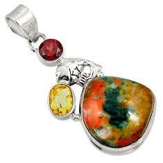 Clearance Sale- 925 silver 27.70cts natural orange apatite (madagascar) citrine pendant d37068