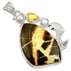 35.18cts natural brown septarian gonads citrine 925 silver fish pendant d37072