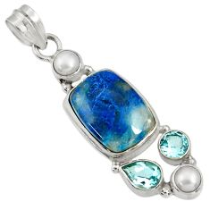 Clearance Sale- 925 sterling silver 11.25cts natural blue shattuckite topaz pearl pendant d37073