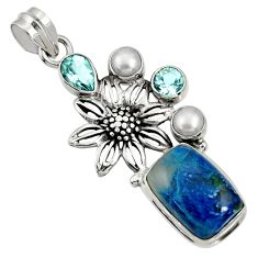 Clearance Sale- 13.22cts natural blue shattuckite topaz pearl 925 silver flower pendant d37074