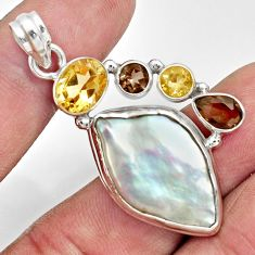 Clearance Sale- 24.00cts natural blister pearl smoky topaz 925 sterling silver pendant d37081