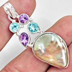 19.27cts natural blister pearl amethyst topaz 925 sterling silver pendant d37084